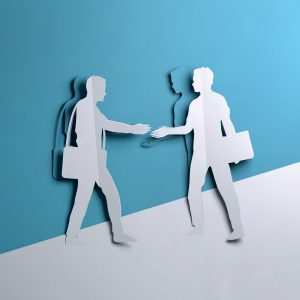 Thumbnail Folded Paper art origami. Two Businessman shaking hands on a business deal opportunity.Paper craft 3D illustration.